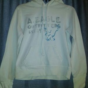 American Eagle Distressed White Graphic Hoodie